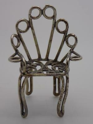 Vintage Solid Silver Italian Handmade BIG Chair Miniature, Figurine, Stamped*