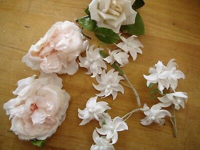 SWEET *VINTAGE* LOT millinery hat flowers white wedding blooms 6 pieces!!