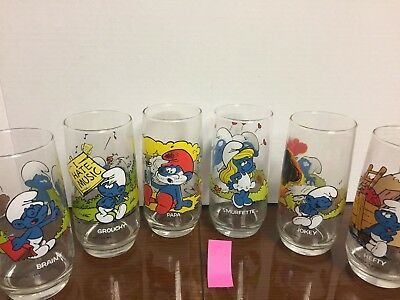 1982 Smurf 6 Glasses , Papa Smurf, Smurfette, Hefty, Brainy, Jokey And Grouchy