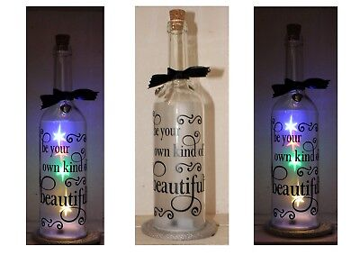 Star Bottle LED Light Up Be your own kind of Beautiful sticker/bottle gift