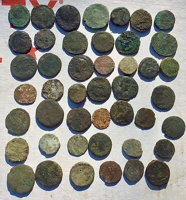 LOT OF 45 UNCLEANED ANCIENT ROMAN AE4 & 12mm COINS, ,MEDIUM-GOOD GRADE, 1-500AD