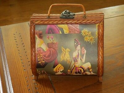 Antique jewelry box Asian Oriental wooden