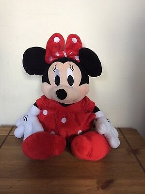 "Disney Minnie Mouse plush soft toy Red Polka Dot Dress 16"" Height"