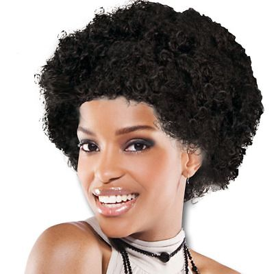 SALE AFRO Unisex BLACK Wig Accessory For 70s Fancy Dress Mens or Ladies