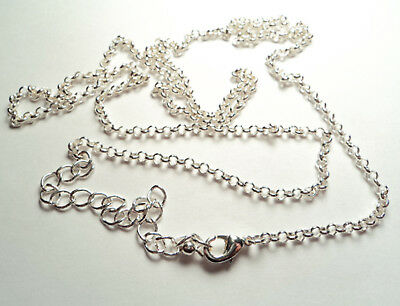 """1 PC. - STERLING SILVER PLATED 2 mm ROLO CHAIN adjustable - 26""""-29"""" -rss2"""