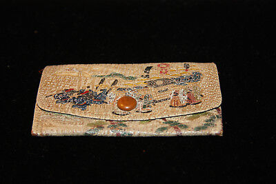 antique vintage painted hand-tooled leather Coin Purse Wallet JAPAN - Mount Fuji