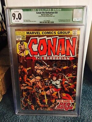 Conan The Barbarian #24 CGC 9.0 Q White pages 1st Full App Red Sonja
