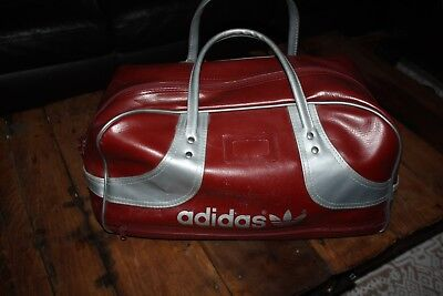 Authentic Vintage 1970's/80's ADIDAS Gym bag, Burgundy/Silver