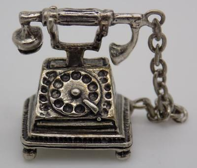Vintage Solid Silver Italian Made Telephone Miniature, Figurine, Stamped