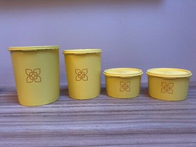 4 Vintage/Retro Harvest Yellow Fan Lid Tupperware Storage Boxes Cannisters