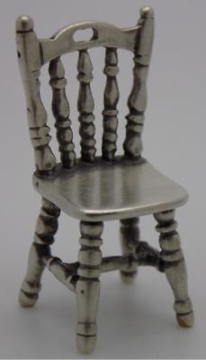 Vintage Solid Silver Italian Made Granny Chair Miniature, Figurine, Stamped