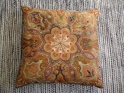 Beautiful Antique Vintage Embroidered Cushion Feather Silk Paisley 60Cm X 60Cm