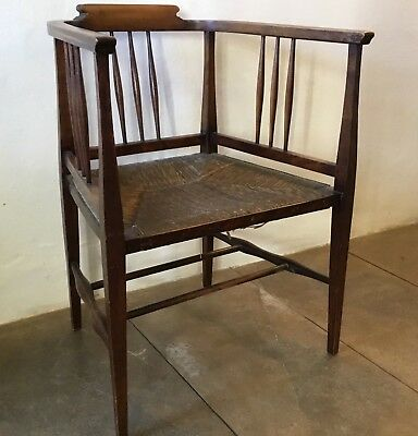 Antique Edwardian Oak Spindle Back,Rush Seat Library/Tub Chair. Belle Epoque VGC