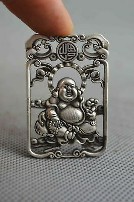 Collectable Handwork Decor old MIao Silver Carve Smile Buddha Auspicious Pendant
