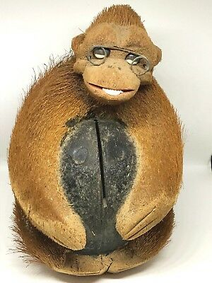 Vintage Hand-Carved Coconut Monkey Bank with Glasses, Island Decor, Unique