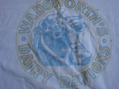 Vintage Cloth Feedsack WADSWORTH'S DAIRY RATIONS COW Graphic Logo Farm 100# OH