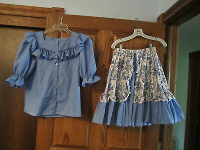 Light Blue and White Square Dance Skirt and Blouse