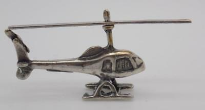 Vintage Solid Silver Italian Made Helicopter Miniature, Figurine, Stamped