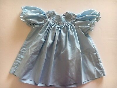 Vintage 60's-70's Rosey Kids Blue Smocked Baby Dress  Size 9-12 Mos