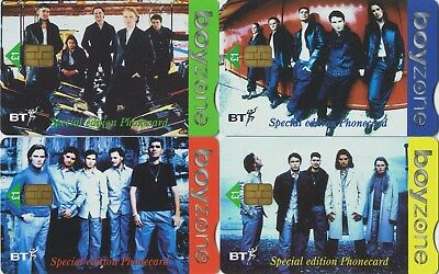 BT Boyzone set of £1 cards mint PRO438-41 in official package with poster.