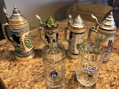 German Beer Stein Collection and Oktoberfest Glassware Lot