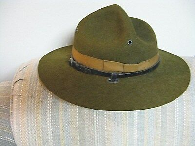 Antique Boy Scout Leader's Hat Green  Leather Hat Band  6 3/4 Good  Shape Usa