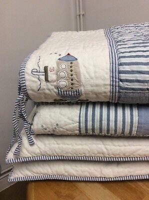 The Little White Company Baby Boy Linen Cot Quilt Bumper Cushions