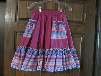 Dark Pink Square Dance Skirt with pockets
