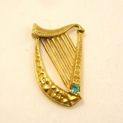 Franklin Mint Golden Harp with set Green stone one inch long