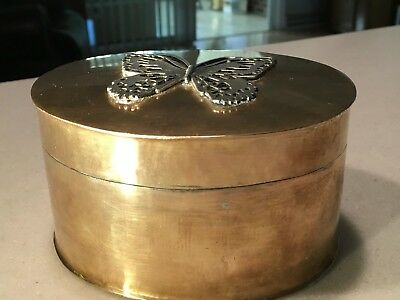 Old Brass Oval-Shaped Container With Hinged Lid, Butterfly Insert on Top of Lid