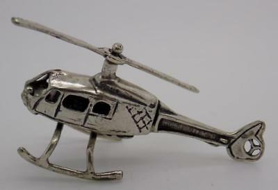 Vintage Solid Silver Italian Handmade Helicopter Miniature, Figurine, Stamped*