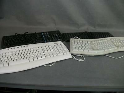 Job Lot Four PC Keyboards.Including Fellowes Ergonomic 104 Keys. (1077-JBC)