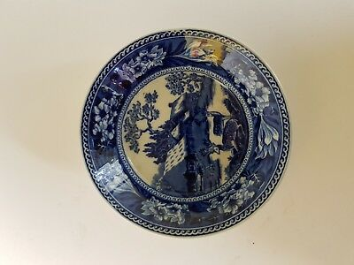Late 19Th Early 20Th Century Wedgwood Blue And White Saucer Fallow Deer Pattern