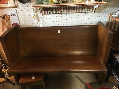 "Antique Church Pew Gothic 52"" Dark Stained"