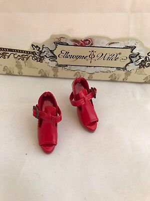 Doll SHOES - Tonner Ellowyne Wilde ~ Felt Cold ~ cute red shoes pumps heels