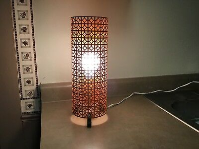 Vtg Mid Century Modern Atomic Metal Wire Mesh Table Lamp,Wrought Iron Legs