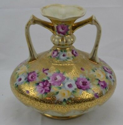 Unmarked Nippon Raised Gold Moriage Pink Yellow Roses Two Handled Vase