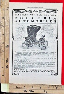 1900 ELECTRIC VEHICLE Columbia automobile car motor carriage Vtg Print Ad 9044