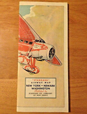 Rare Vintage Standard Oil Company Airway Map Lockheed Vega Aircraft Aviation