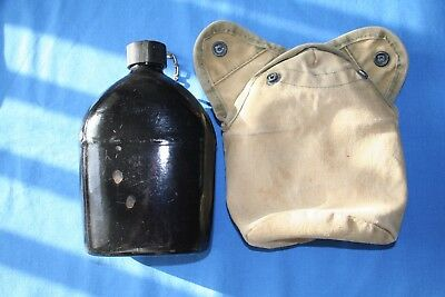USMC Marine Black Porcelain Canteen and First Type Marine Cover