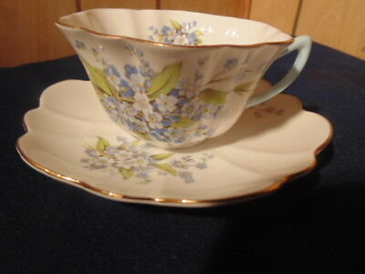Shelley Cup And Saucer,j2799Pale Blue Flowers.