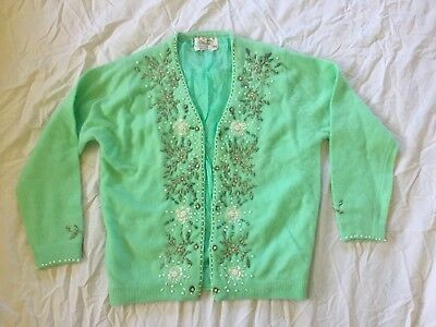 Vtg Cardigan Sweater 50's Bead Sequin Rockabilly Turquoise Green Pinup M 38 Retr