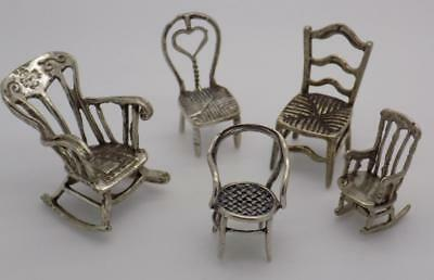 35.30g/1.245-oz. Vintage Solid Silver JOB LOT 5 x Chair Miniatures, Figurines