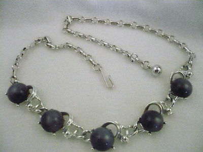 """Vintage Coro silver tone choker style charcoal grey thermoset 16.5"""" necklace"""