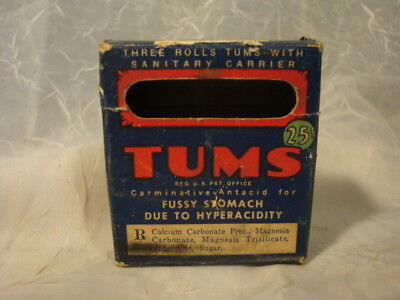 Old Vintage TUMS FOR THE TUMMY EAT LIKE CANDY Advertising Antique Box Empty