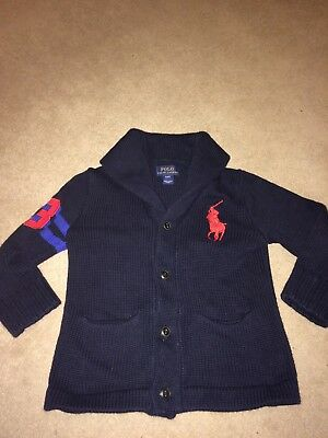 Polo Ralph Lauren boys Cardigan, navy blue size 3-4 years, cotton, collared