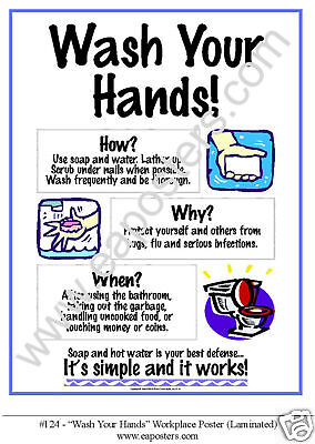 """Safety Sign Poster """"WASH YOUR HANDS"""" 11x17 LAMINATED!"""