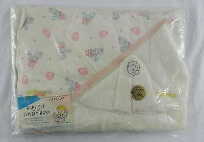 Vintage Cannon Terry Cloth Baby Set Poodle Pink Trim Wash Cloth Blanket Towel