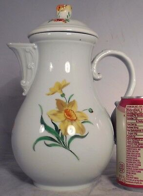 Antique German Meissen Porcelain Coffee Pot Teapot Daffodil Roses Flowers