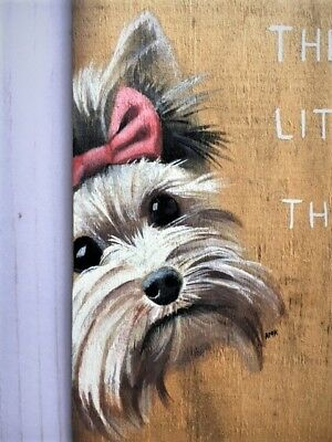 Hand-Painted-Yorkie-Yorkshire-Terrier-Dog-Wood-Sign-Wall-Home-Decor